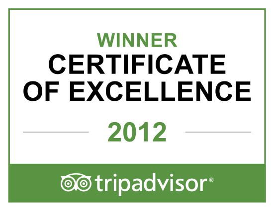 The Copplehouse Bed and Breakfast Certificate of Excellence Award